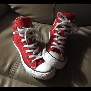 CONVERSE RED CHUCK TAYLORS HIGH TOPS